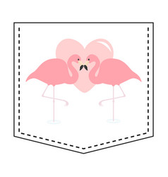 flamingo love couple pocket print pink heart vector image