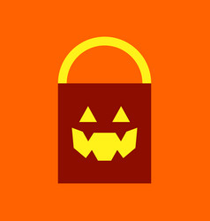 Flat icon on background halloween bag vector