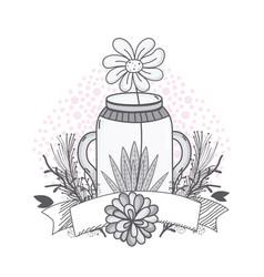 Flowers in mason jar drawing design vector