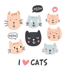 funny cats collection vector image