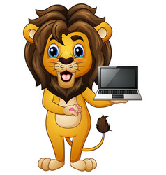 Funny lion cartoon presenting a laptop vector