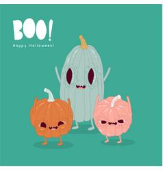 funny pumpkins wish you a happy halloween vector image