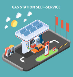 Gas station self service composition vector