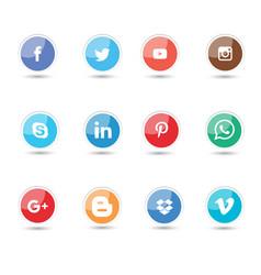 Glossy social media icon vector