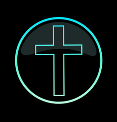 glowing cross in a round frame on a black vector image