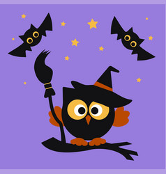 Halloween set with owl vector
