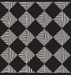 Hand drawn seamless repeating pattern with checker vector