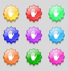 Hand print sign icon Stop symbol Symbols on nine vector image