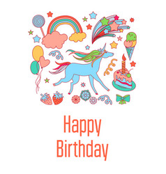 happy birthday holiday card with sweets stars vector image
