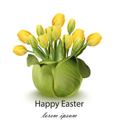 Happy easter tulip flowers bouquet card spring vector
