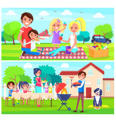 Happy family having picnic together in forest home vector