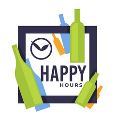 happy hours in bar or pub isolated icon craft vector image