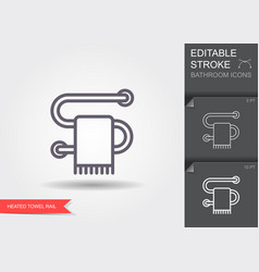 Heated towel rail line icon with editable stroke vector