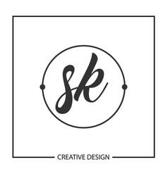 Initial letter sk logo template design vector
