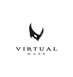 Initial v venetian ball mask masquerade party logo vector