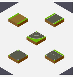 Isometric road set of footpath unilateral vector