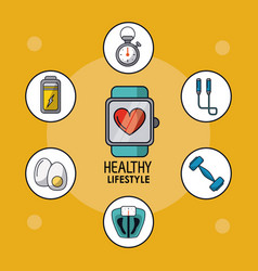 light orange poster of healthy lifestyle with vector image
