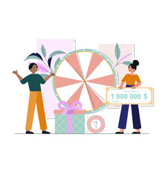 lucky female character is turning raffle drum vector image