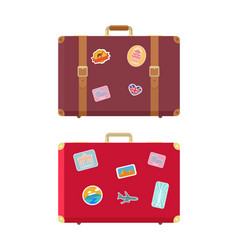 luggage traveling bags and stickers set vector image