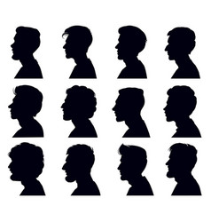 Male profile face silhouette adult men anonymous vector