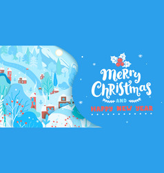 merry christmas greeting card with winter vector image