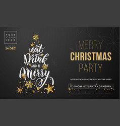 merry christmas party poster banner golden vector image