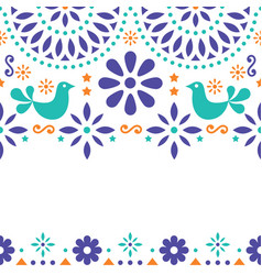 Mexican folk art greeting card invitation vector