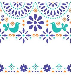 Mexican folk art greeting card invitation vector