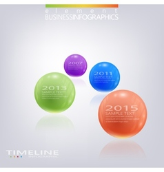 Modern 3d glossy ball elements timeline vector