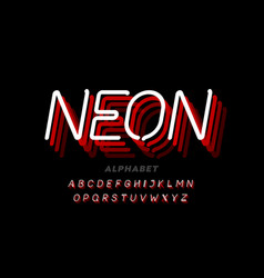 Neon light style font vector