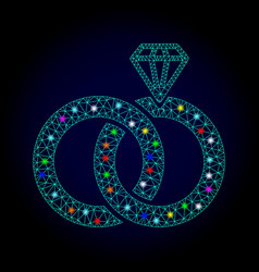 network mesh jewelry wedding rings with vector image
