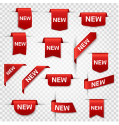 New labels newest product red banner ribbons vector