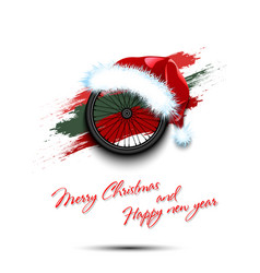 New year and bicycle wheel in santa hat vector