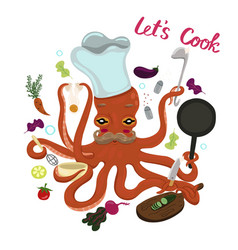 Octopus cook isolate on a white background vector