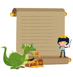 paper template with prince and dragon vector image