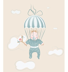 parachuting little boy with lollipop vector image