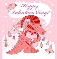 Pink dragon with heart vector
