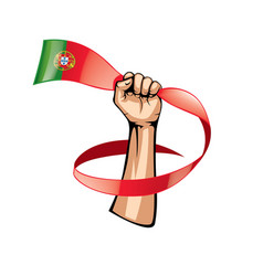 Portugal flag and hand on white background vector