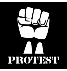 raised fist sign protest and revolution vector image