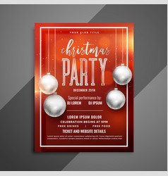 red christmas shiny flyer with silver xmas balls vector image