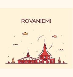 rovaniemi skyline finland city linear style vector image