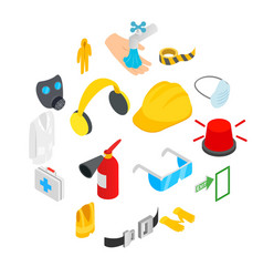 Safety icons set isometric 3d style vector
