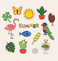 set cute summer stickers butterfly fish vector image