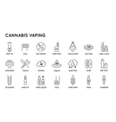 set minimal cannabis vaping culture line icons vector image