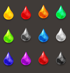 set of drops of various colors of liquid vector image