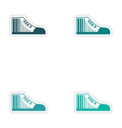 Set of paper stickers on white background gumshoes vector