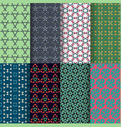 set of seamless decorative geometric shapes vector image