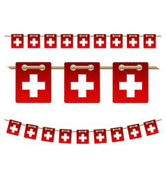 set switzerland garland flag on white vector image