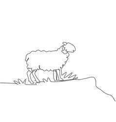 Single continuous line drawing sheep were vector