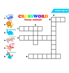 six funny anymals crossword on white background vector image